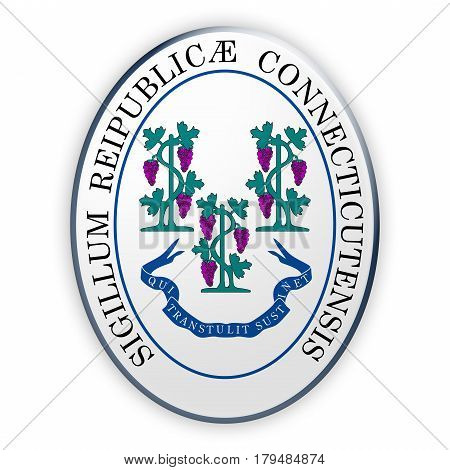 Badge US State Seal Connecticut 3d illustration