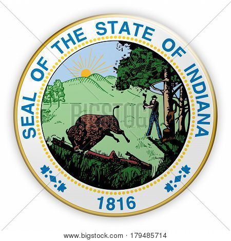 Badge US State Seal Indiana 3d illustration