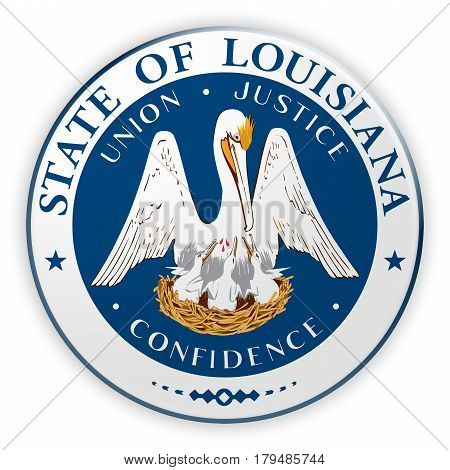 Badge US State Seal Louisiana 3d illustration