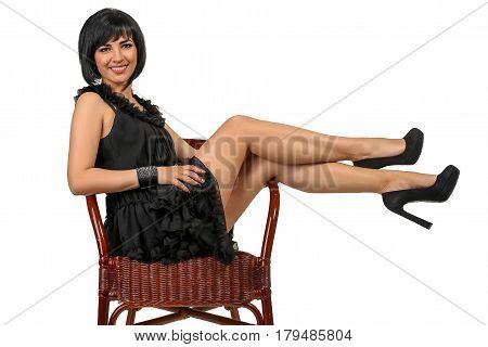 portrait of beautiful fashionable girl in the studio