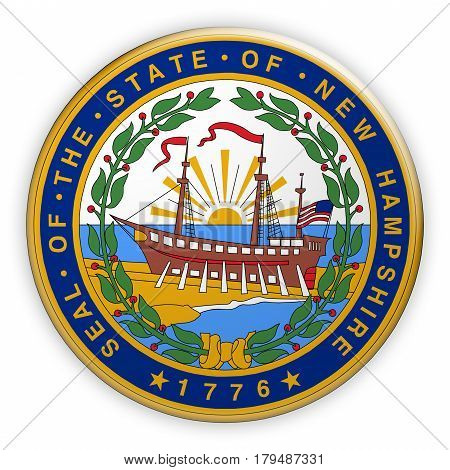 Badge US State Seal New Hampshire 3d illustration