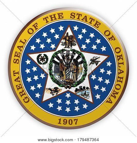 Badge US State Seal Oklahoma 3d illustration
