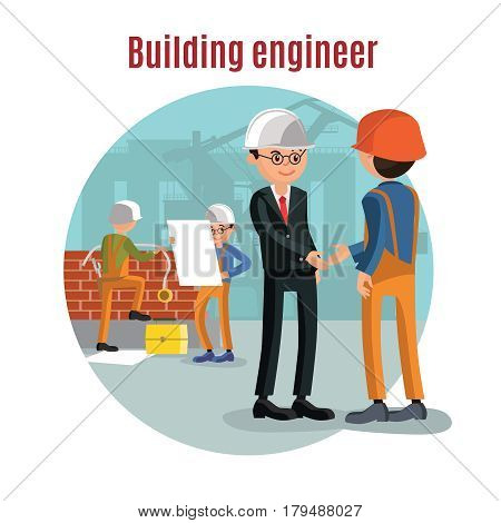 Colorful building people template with engineer and contractor shaking hands and construction workers learning architectural project vector illustration