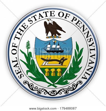 Badge US State Seal Pennsylvania 3d illustration