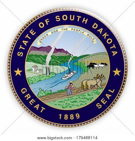 Badge US State Seal South Dakota 3d illustration