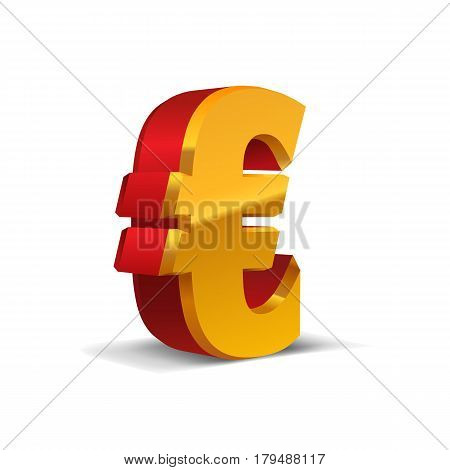 Red-Yellow-Gold 3d Euro Sign. Currency symbol. Vector Illustration. Isolated on White Background