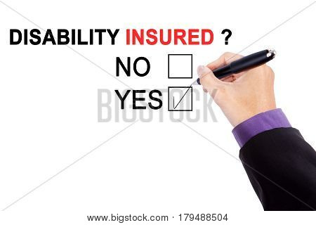 Hand of male worker with a question of disability insured while choosing a yes option on the whiteboard