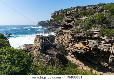 Rough Cliff With Rapid Ocean Waves Landscape