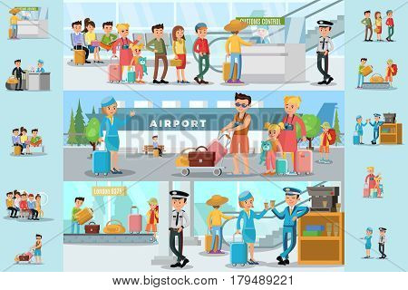 People in airport infographic template with passengers passing customs control before flight boarding and staff on coffee break vector illustration