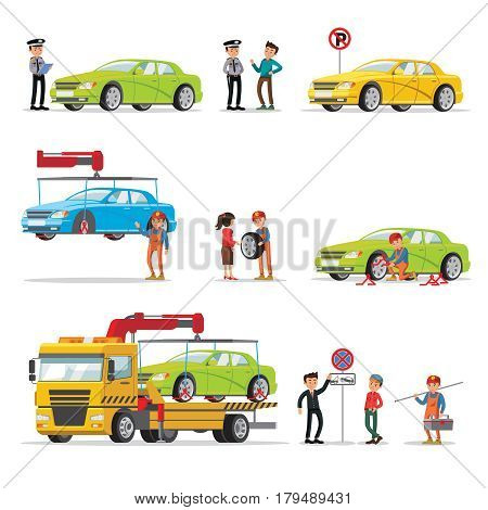 Car evacuation elements set with policeman fined driver for wrong parking and automobile lifting loading transportation on evacuator isolated vector illustration