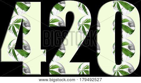 Cannabis 420 Logo With Marijuana Inside High Quality