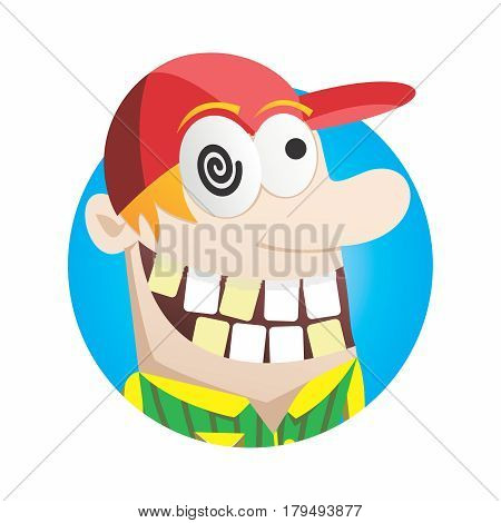 Vector Happy and Cheerful Madman Head Mascot