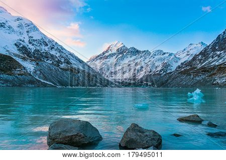 Beautiful Glacier Lake And Snow Capped Mountains