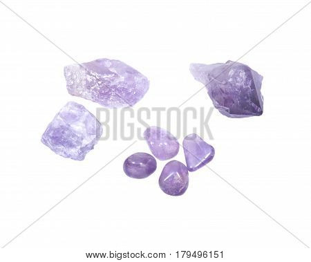 Amethyst: tumbled, natural chunks, single point isolated on white background