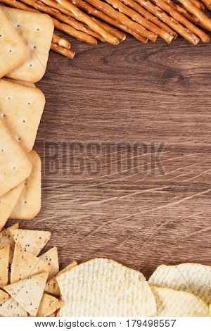 Frame Of Breadsticks, Cookies And Crisps, Concept Of Unhealthy Food, Copy Space For Text
