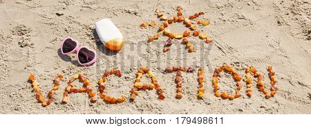 Word Vacation And Shape Of Sun, Accessories For Sunbathing On Sand At Beach, Summer Time