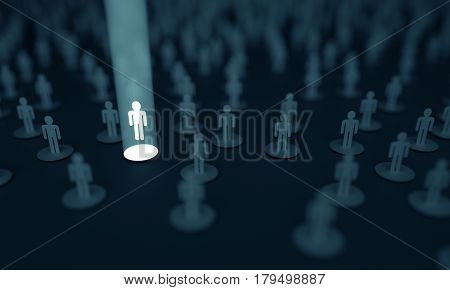 3D illustration. Conceptual image of choosing one person among several.
