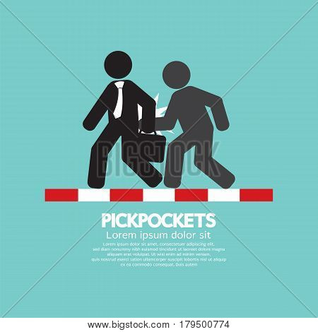 Pickpocketer Steal Things From Bag Of Businessman On Street Black Symbol Vector Illustration. EPS 10