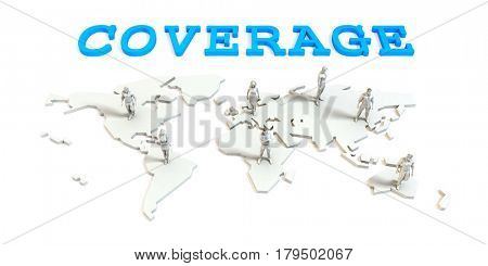 Coverage Global Business Abstract with People Standing on Map 3D Illustration Render