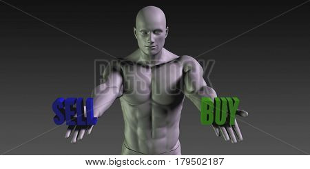 Buy or Sell as a Versus Choice of Different Belief 3D Illustration Render