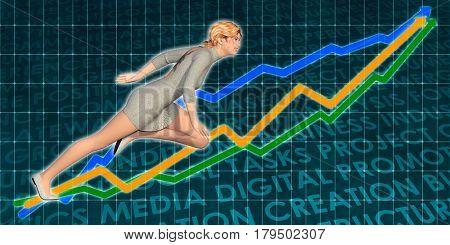 Businesswoman Charging Ahead on Blue Background Art 3D Illustration Render