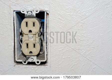 Home danger electrical outlet without cover plate
