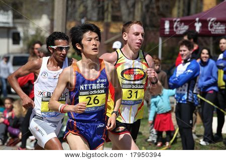 BOSTON - APRIL 18 : Nearly 25000 runners participated in the Boston Marathon on April 18, 2011 in Bo