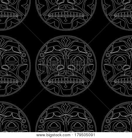 Vector illustration of the sun symbol. Modern stylization of North American and Canadian native art in white on black with native ornament seamless pattern