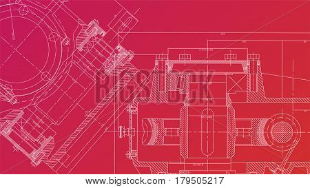 Mechanical Engineering drawing. Engineering Drawing Background. Vector Illustration.