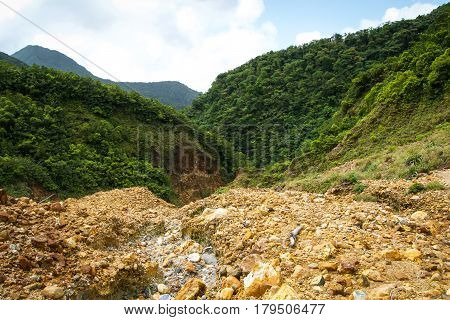 Dominica Mountains Landscape on the Island during the Boiling Lake Hike in the Valley of Desolation