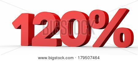 One Hundred And Twenty Percent. 120 %. 3D Illustration.
