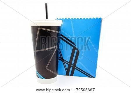 Empty popcorn bucket and paper cup isolated on a white background.