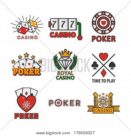 Gambling poster of casino and poker logotypes on white. Vector colorful banner in flat design of cards piles, playing cubes, aces and gaming tables. Emblems of entertaining establishments