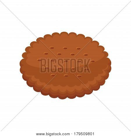 Chocolate biscuit round shape isolated on white background. Cacao cracker vector illustration, fresh pastry in flat design. Patisserie cookies, delicious confectionery logo, fresh dessert snack