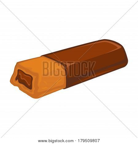 Bar of chocolate with biscuit inside stuffed with cacao filling isolated on white. Tasty bakery vector illustration, fresh pastry in flat design. Patisserie cookies, delicious confectionary dessert