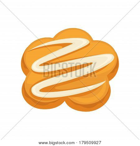 Sweet dessert biscuit with white cream topping isolated on white background. Tasty cracker vector illustration, fresh pastry in flat design. Patisserie cookies, delicious confectionery fast food snack