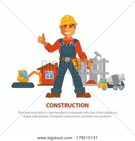 Construction advertisement banner with man in uniform and yellow helmet with buildings and equipment on background. Male builder and houses, excavation and concrete mixer vector poster on white