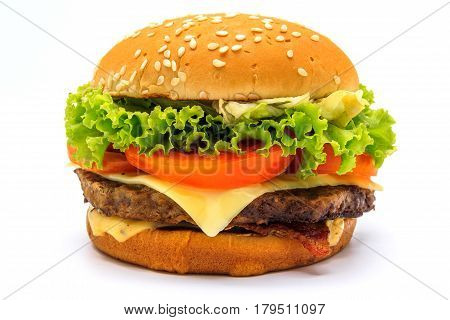 Perfect hamburger classic burger american cheeseburger with cheese bacon tomato and lettuce isolated on a white background.