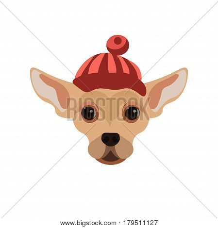 Russian Toy Terrier dog wearing red striped hat with small ball on top. Vector colorful illustration in flat design of domestic animal with extremely big ears, black eyes and beige short hair