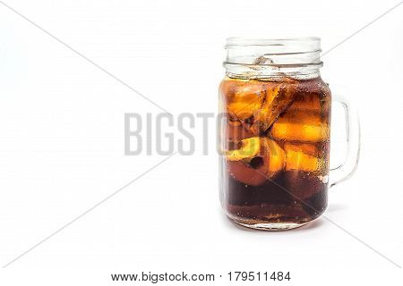 Cola in glass with ice on white background with clipping path Soft drinks