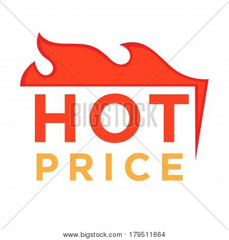 Hot price logo design burning fire logotype design at top of text isolated on white. Vector illustration of best deal advertisement poster badge. Advertising banner informing about sale, promo sticker