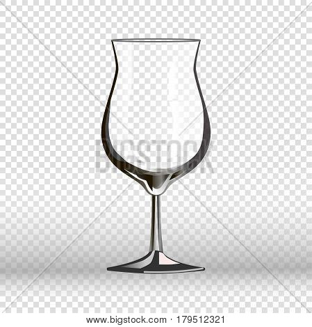 Empty cocktail drinking glass isolated on transparent. Vector illustration in flat design of long round vessel made of fragile material for pouring liquids. Tall clear glassy cup realistic goblet