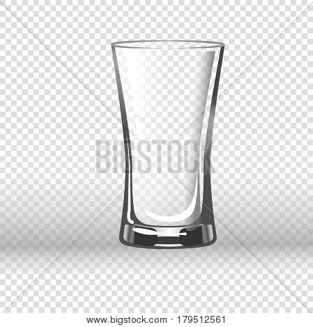 Empty drinking glass isolated on transparent background. Vector illustration in flat design of long round vessel with thick bottom made of fragile material for pouring liquids. Tall clear glassy cup