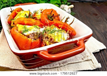 Tomatoes Stuffed With Rice And Meat In Brazier On Towel