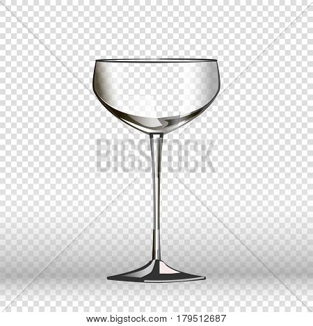 Empty wine glass isolated on transparent background. Vector illustration in flat style of long round vessel made of fragile material for pouring liquids. Tall clear glassy cup wineglass design