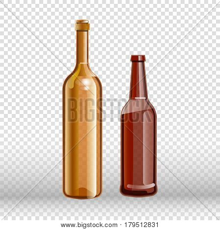 Two empty bottles of wine and beer isolated on transparent background. Flasks from alcohol drink close up vector illustration. Glass material for recycling garbage. Winery product for recycle