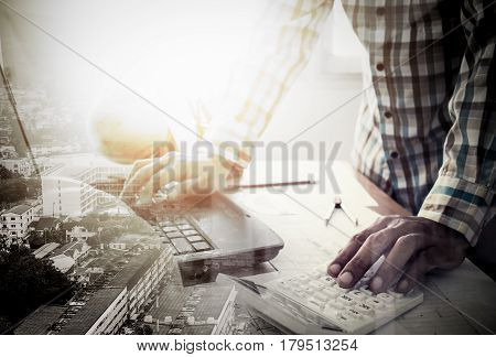 Double Exposure Of Success Land Developer Working In Office