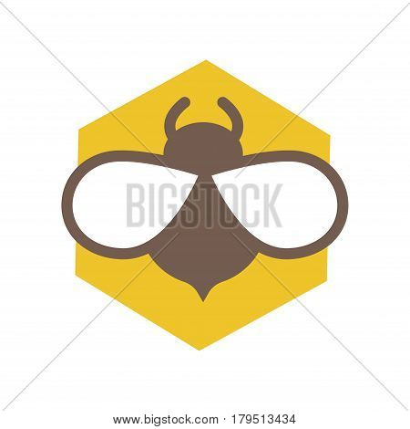 Honey logo design in flat style with bee icon. Vector illustration of insect in honeycomb or any flying creature logotype label sticker. Fly icon isolated on yellow background in shape of hexagon