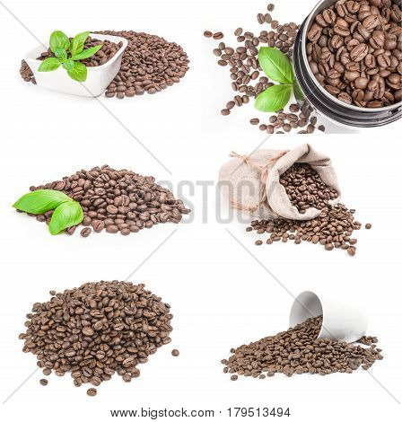 Set of closeup of coffee beans isolated on a white background cutout