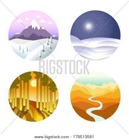 Landscape vector poster of round icons with nature in winter and summer. Circle showing cold snowy weather in mountains and on plain at night, sunny forest with tall trees and desert with river